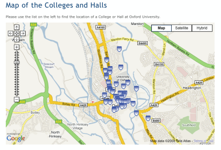 Map of all colleges on www.ox.ac.uk