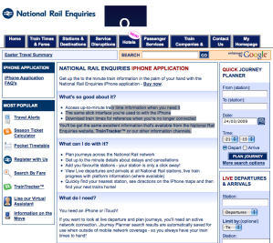 National Rail Application for iPhone