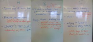Snapshot: whiteboard writeup of the suggestions made by the three groups in our geolocation workshop.